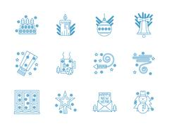 Flat blue line New Year vector icons set Stock Illustration