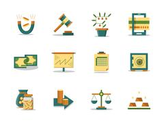 Money making flat color vector icons set - stock illustration