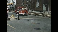 Vintage 16mm film, 1957, America, fire truck b-roll #2 Stock Footage