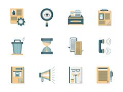 Headhunting flat color vector icons set Stock Illustration