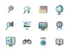 Business research flat color vector icons set - stock illustration
