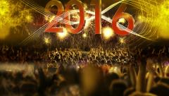 2016_crowd of people and fireworks explosions (Tilt camera) YELLOW Stock Footage