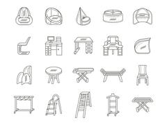 Furniture flat line icons vector collection Stock Illustration