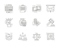 Banking flat line vector icons set Stock Illustration