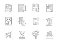 Recruiting thin line vector icons set Stock Illustration