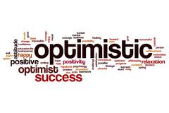 Optimistic word cloud concept - stock illustration