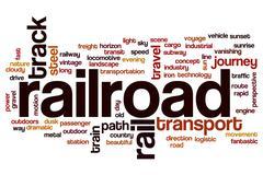 Railroad word cloud concept - stock illustration