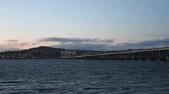 Timelapse of Tay Road Bridge and Dundee at dusk Scotland Stock Footage