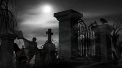 Vampire at a graveyard on a foggy night with full moon Piirros