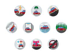 Colored auto insurance vector icons Stock Illustration