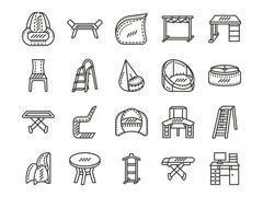 Furniture for home simple line vector icons set - stock illustration