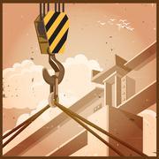 hi rise construction old poster - stock illustration