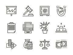 Finance black line vector icons set - stock illustration
