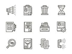 Human resource management black line vector icons Piirros