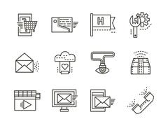 Online services simple line vector icons - stock illustration