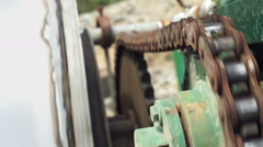Industrial Chain with Drum Turning Closeup Stock Footage