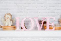Decor in the studio in the style of romance and love Stock Photos
