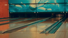 Girl playing bowling Stock Footage