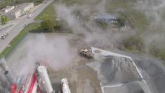 Stock Video Footage of Asphalt mixing plant, aerial view