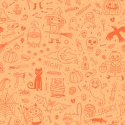Halloween seamless pattern. Pumpkin, Ghosts, Cats, Skulls, Bats and other - stock illustration