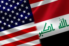 Merged Flag of Iraq and USA Stock Illustration
