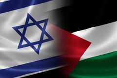 Merged Israeli and Palestinian Flag Stock Illustration