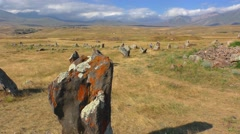 Menhirs Zorats Karer in Armenia, long shot, The Armenian Stonehenge - stock footage