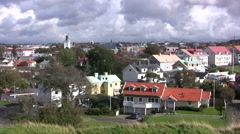 Traditional residential houses in Varberg viewed from a high vantage point - stock footage