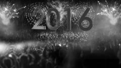 2016_crowd of people and fireworks explosions (zoom out camera) COLORLESS Stock Footage