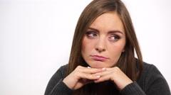 Woman face sad and stressed  closeup 4K - stock footage