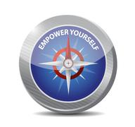 Empower Yourself compass sign concept - stock illustration