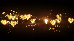 Glittering heart shapes from firework bursts loop 4k (4096x2304) Stock Footage