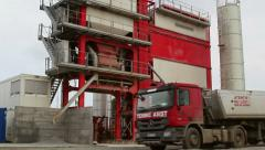 Stock Video Footage of Powerful asphalt mixing plant operating