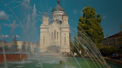Cluj Town Center Cathedral and Water Fountain Close-up Shot Stock Footage