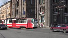 An electric tram (in 4k & audio) in St Petersburg, Russia. Stock Footage