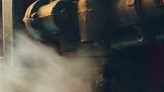Ultra Close-up of Industrial Engine Exhausting Steam Stock Footage
