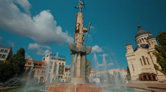 Cluj Town Center Cathedral and Water Fountain Wide Shot Stock Footage