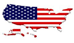 Complete USA Map with Flag Overlay Stock Illustration