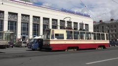 An electric tram (in 4k) in St Petersburg, Russia. Stock Footage