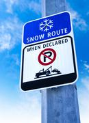 Snow Route Sign, No Parking When Declared - stock photo