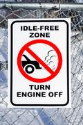 Idle-Free Zone, Turn Engine Off Sign Stock Photos