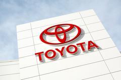 Toyota Emblem Outside a Car Dealership - stock photo