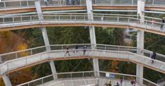 Spiral slide and walkway Stock Footage