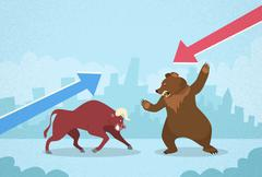 Bull vs Bear Stock Exchange Concept Finance Business - stock illustration