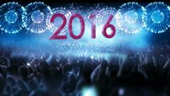 2016_crowd of people and fireworks explosions (zoom out camera) BLUE Stock Footage