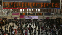 Liverpool Street Station The Morning Commute Timelapse Telephoto Shot Stock Footage