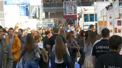 Belgrade,Serbia,October 2015 Crowd Walking on  International book fair 4K Stock Footage