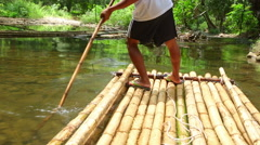 Bamboo rafting in Khao Lak Stock Footage