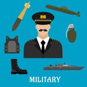 Stock Illustration of Military profession and navy flat icons