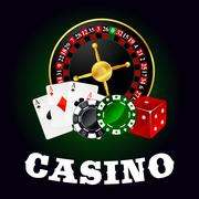 Casino roulette, cards, game chips and dice Piirros